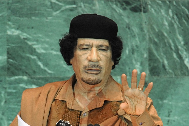 MouammarKadhafi lors de son discours fleuve à l'ONU,... (Photo: AFP)
