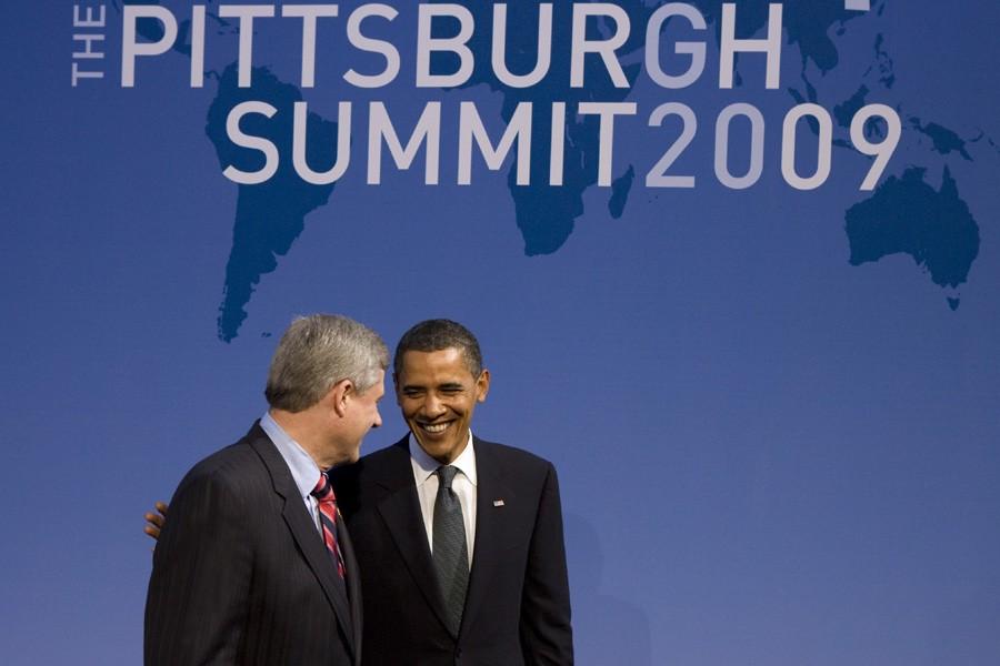 Stephen Harper et Barack Obama au sommet du... (Photo: PC)