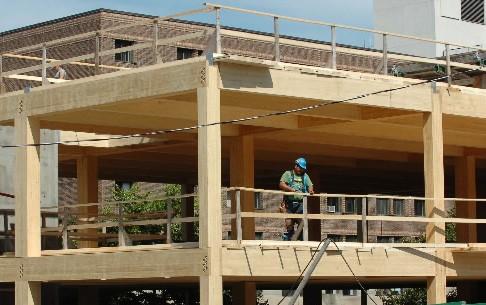 Ce type de structure en «bois construit» intrigue... (Photo: Jean-Marie Villeneuve, Le Soleil)