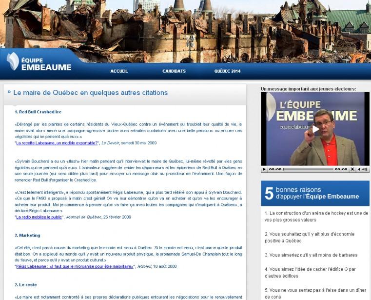 Capture d'écan du site www.equipelabeaume.com, une parodie sur...