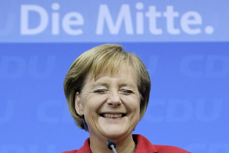 Angela Merkel, tout sourire: «Je veux être la... (Photo: AFP)