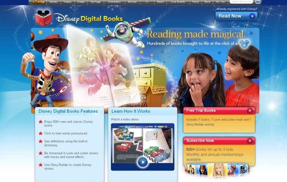 Capture d'écran du site www.DisneyDigitalBooks.com...
