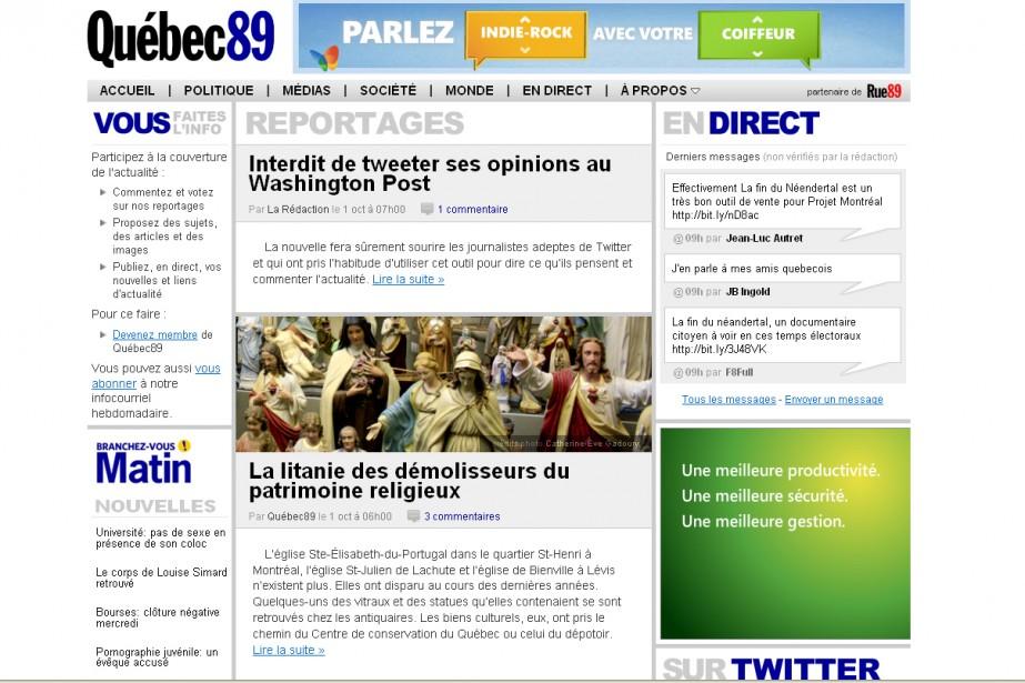 Capture d'écran du site Québec89.com...