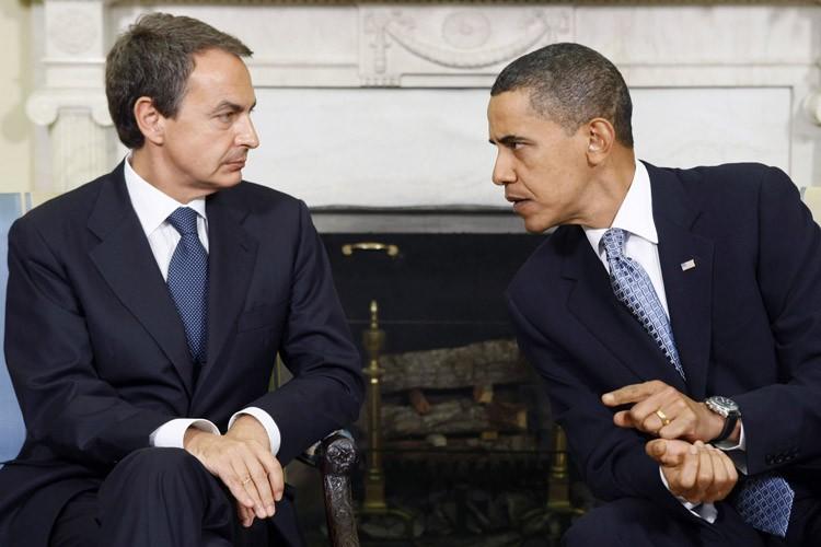 José Zapatero et Barack Obama à la Maison-Blanche.... (Photo: Reuters)