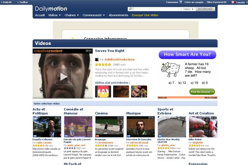 La page d'accueil du site Dailymotion...