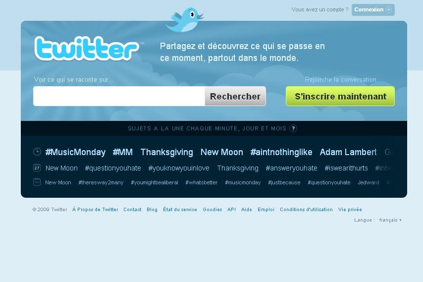 La page d'accueil de Twitter...