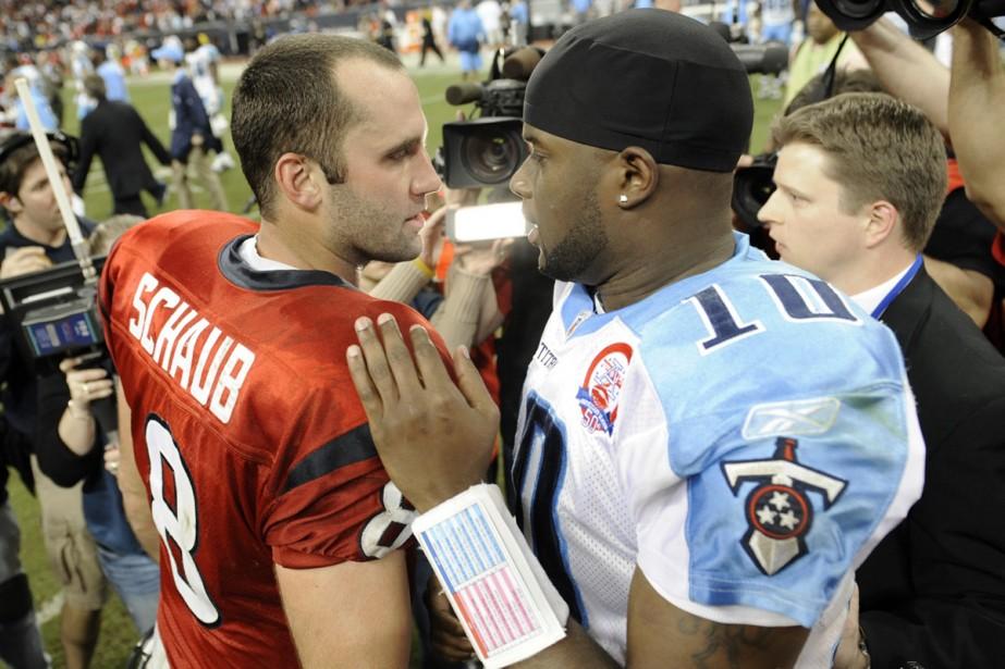 Vince Young et Matt Schaub après la victoire... (Photo: AP)