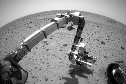 Une image du robot Spirit sur Mars, prise... (Photo: AFP)