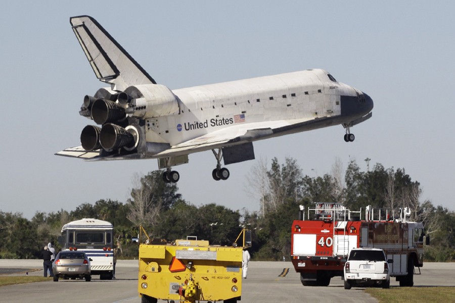 Atlantis a pu atterrir à l'heure prévue en... (Photo: AP)