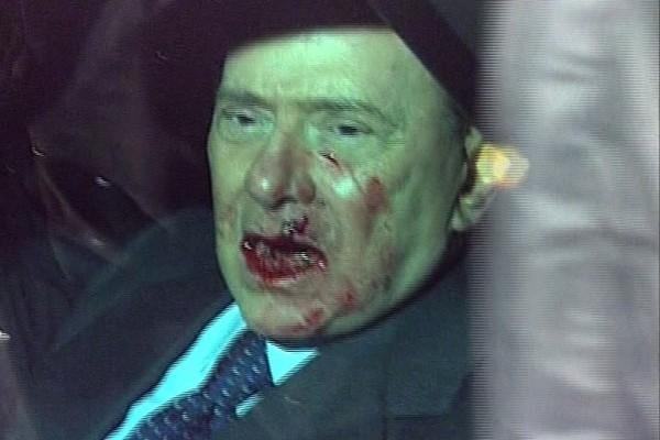 Le chef du gouvernement italien a été victime... (Photo AP/Rai)
