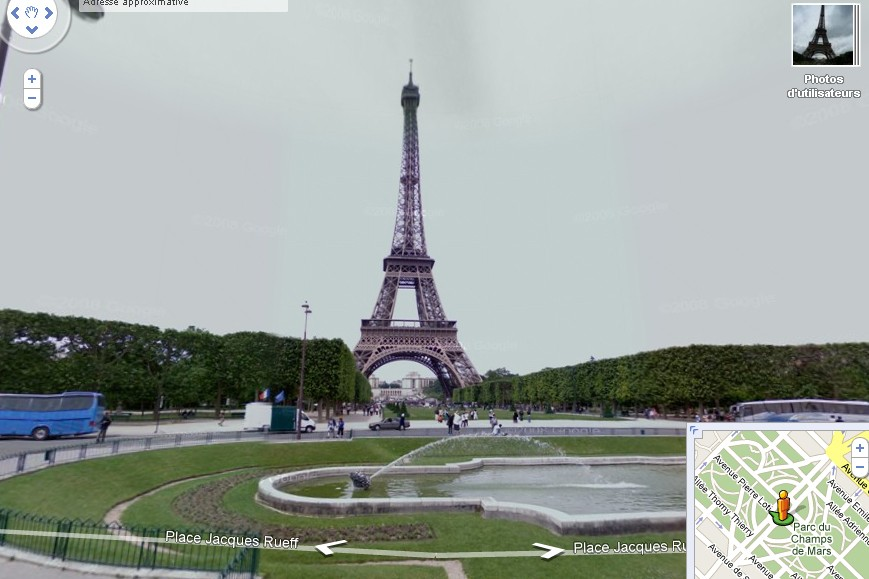 La tour Eiffel vue sur Google Street View...
