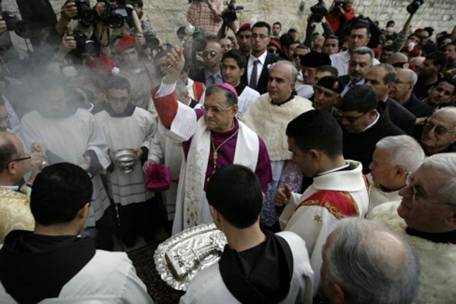 Mgr Fouad Twal a prié pour la paix... (Photo: AP)