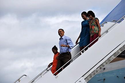 Le président américain Barack Obama et sa famille... (Photo: AFP)