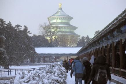 Un front d'air froid venant de Sibérie a balayé le nord de la... (Photo: AFP)