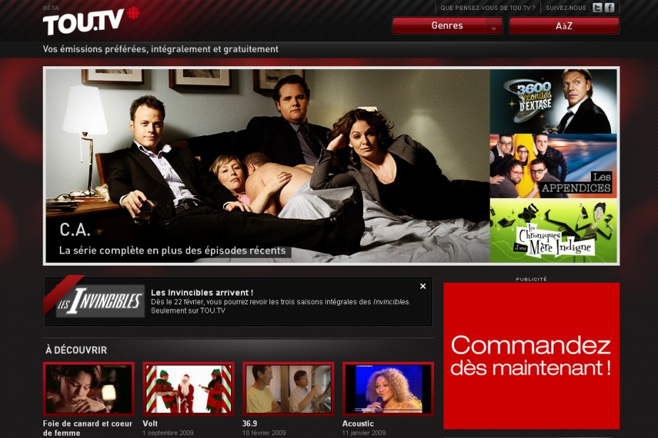 Le site Tou.tv...