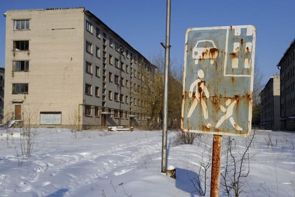 Des immeubles abandonnés de la ville-fantôme.... (Photo AFP)