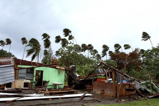 Le passage dévastateur du cyclone Oli sur l'île... (Photo: Gregory Boissy, AFP)
