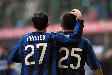 Les joueurs de l'Inter célèbrent un but de... (Photo: AFP)