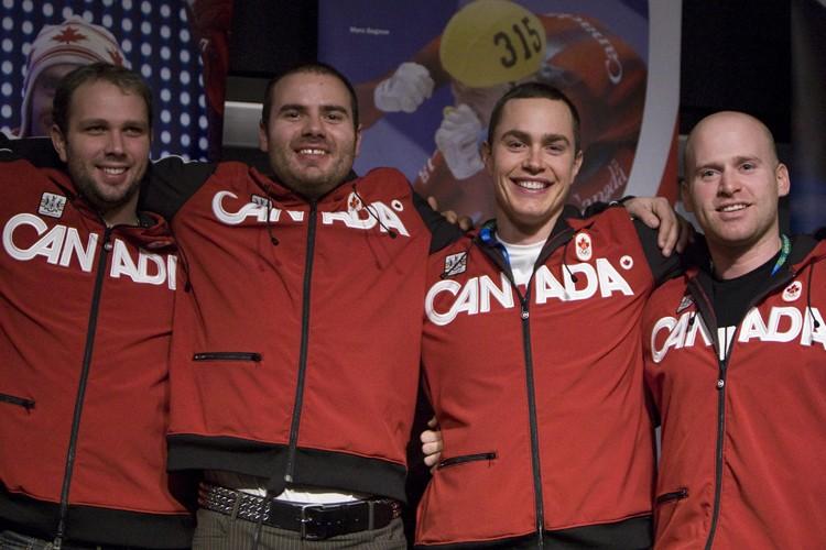 Les skieurs canadiens Manuel Osborne-Paradis, Jan Hudec, Erik... (Photo: PC)