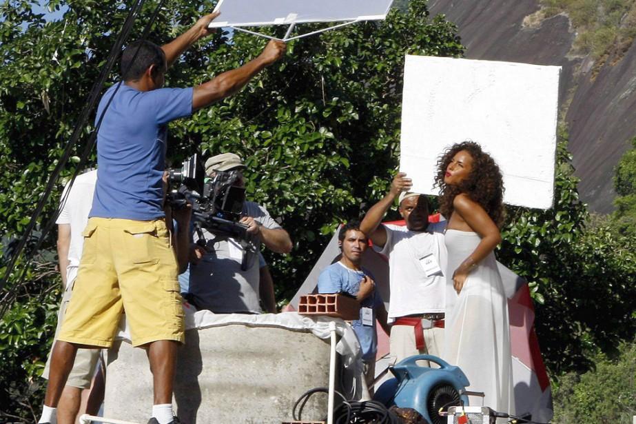 Alicia Keys sur le tournage du vidéoclip.... (Photo: AFP)
