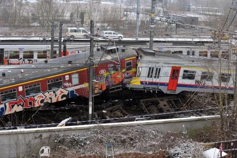 Une collision entre deux trains de voyageurs lundi près d'une... (Photo: AFP)