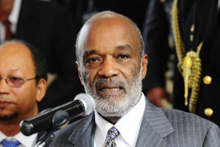 Le président haïtien René Préval.... (Photo: Rodrigo Buendia, AFP)