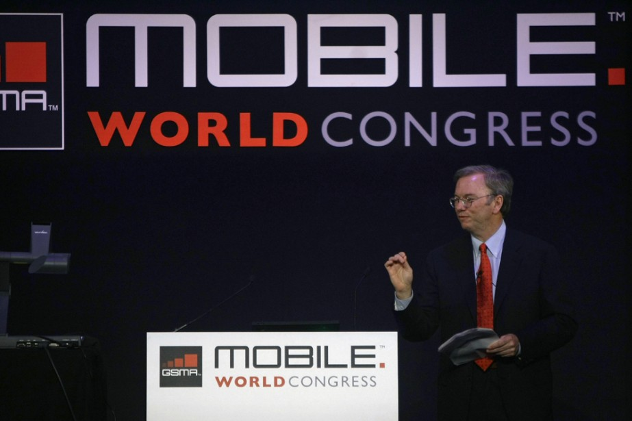 Le PDG de Google, Eric Schmidt, à Barcelone... (Photo: Reuters)