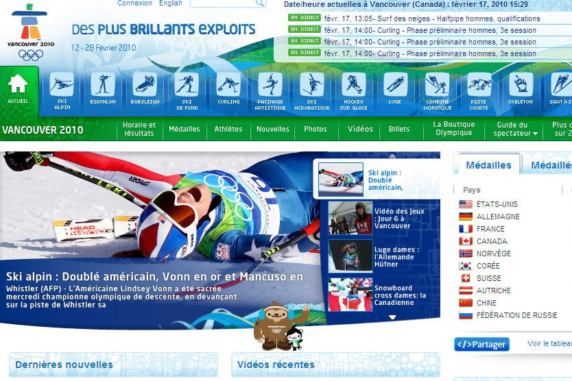 Le site internet officiel des JO de Vancouver, dont l'AFP est fournisseur...