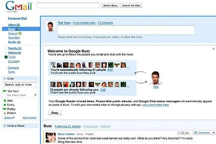 Capture d'écran du nouveau réseau social «Buzz» lancé... (Illustration: AP)