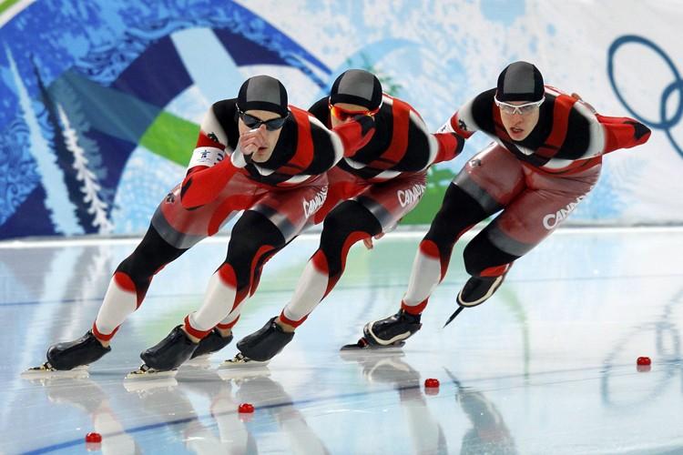 Denny Morrison, Lucas Makowsky et Mathieu Giroux.... (Photo: Reuters)