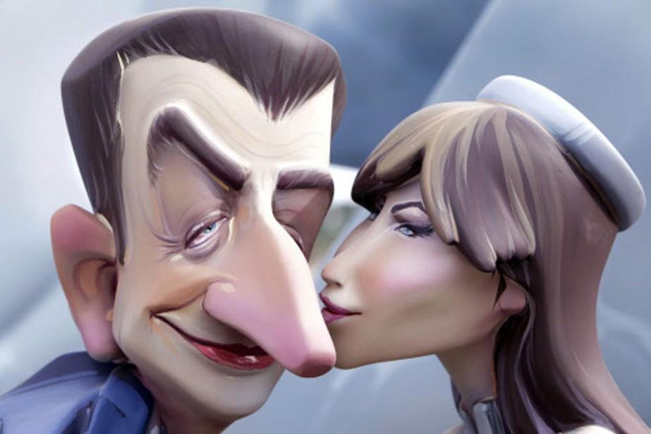 Des caricatures géantes de Nicolas Sarkozy et de... (Photo: AP)