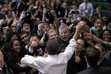Barack Obama lors d'une réunion publique devant 8... (Photo: Reuters)