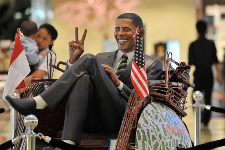 Une statue du président Barack Obama, assis dans... (Photo: AFP)
