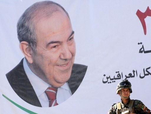 La victoire d'Iyad Allawi -sur cette affiche géante-... (Photo: AFP)