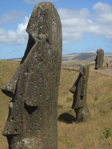 Dans la carrière du Rano Raku, où étaient sculptées les moai, on voit plusieurs statues de tous les formats sur un parcours d'environ 1,5 km à flanc de volcan. Quelques-unes d'entre elles n'ont jamais été terminées. | 1 mars 2011