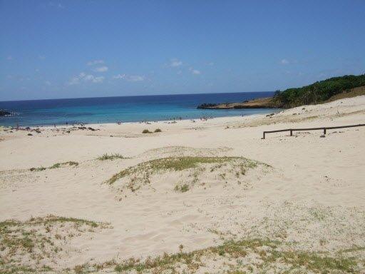 Après les étendues arides des principaux sites archéologiques, on est surpris de trouver une belle plage de sable blanc avec palmiers en arrivant à Anakena. | 1 mars 2011