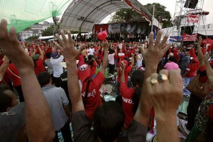Mnaifestation de chemises rouges, à Bangkok.... (Photo Reuters)