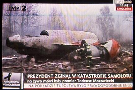 Les premières images retransmises par la télévision polonaise... (Photo: Polish Public TV Chanel 2)