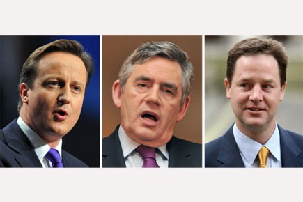 David Cameron, Gordon Brown et Nick Clegg... (Photo: AFP)