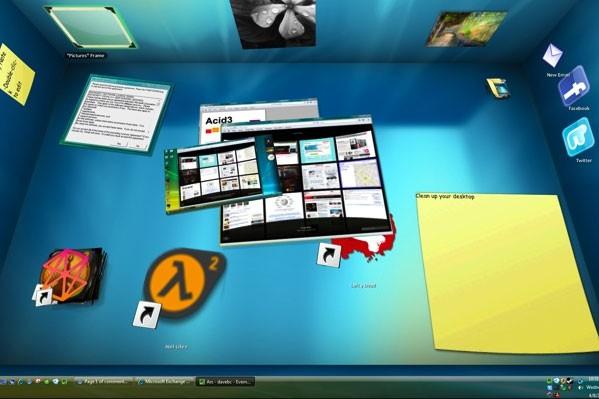 Un bureau créé avec BumpTop...
