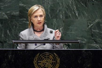 Hillary Clinton s'exprime lors de la conférence de... (Photo Reuters)