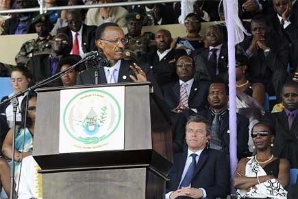 Le président rwandais Paul Kagame lors d'une cérémonie... (Photo: archives AFP)