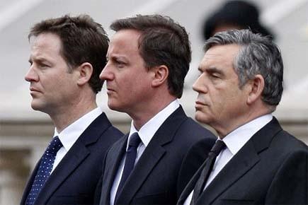 Nick Clegg, David Cameron et Gordon Brown. Cameron... (Photo: AP)
