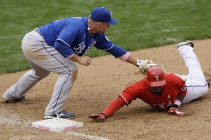 David Murphy a cogné trois coups sûrs et produit deux points, Max... (Photo AP)