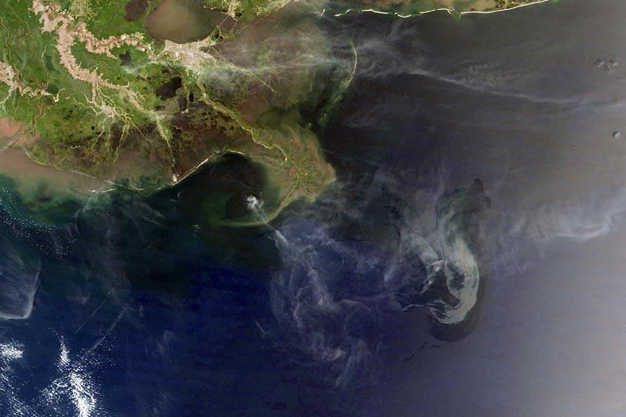 Un photo satellite de la marée noire qui... (Photo: AFP/Nasa)
