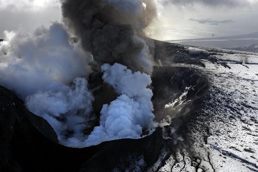 Une vue aérienne du volcan islandais Eyjafjöll.... (Photo: AP)