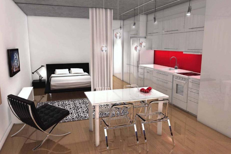 Voici à quoi ressemblera un appartement d'environ 400... (Illustration fournie par développements Mcgill)