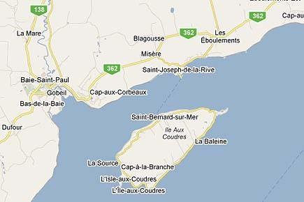 Tout le secteur Est de l'Isle-aux-Coudres a été... (Image: maps.google.ca)