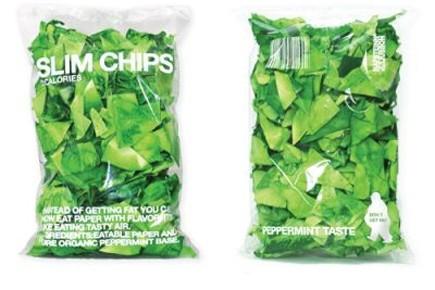 Le papier parfumé comestible, baptisé Slim Chips, un concept du designer de...