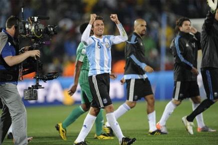 Gabriel Heinze a été le seul marqueur de... (Photo: AFP)
